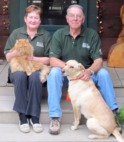 Mary and Brian Bennett with their pets
